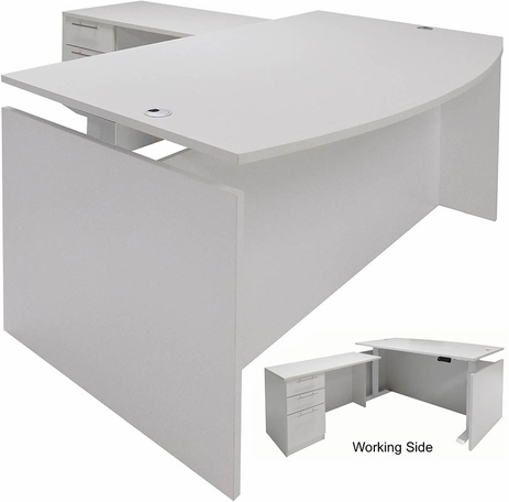 White Adjustable Height Bow Front L-Shaped Desk