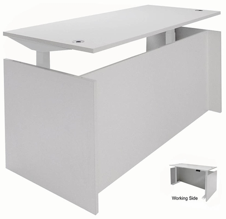 White Adjustable Height Manager's Desk