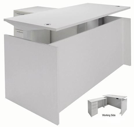White Adjustable Height Manager's L-Shaped Desk