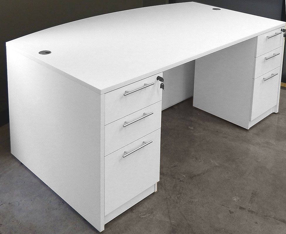 White Bow Front Conference Desk W 6 Drawers