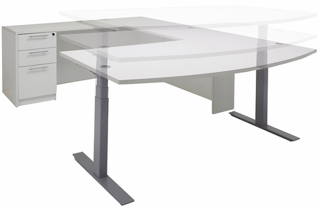 White Electric Lift Adjustable Height  U-Desk