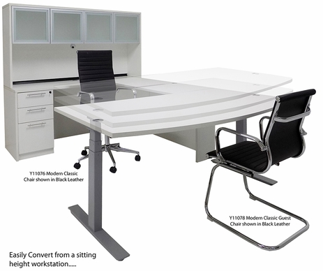 White Electric Lift Adjustable Height U-Desk w/Hutch