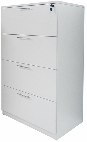 White Laminate 4-Drawer Lateral File