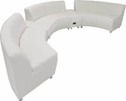 White Leather 180 Degree Curved Concave Sofa w/2 Powered USB Benches