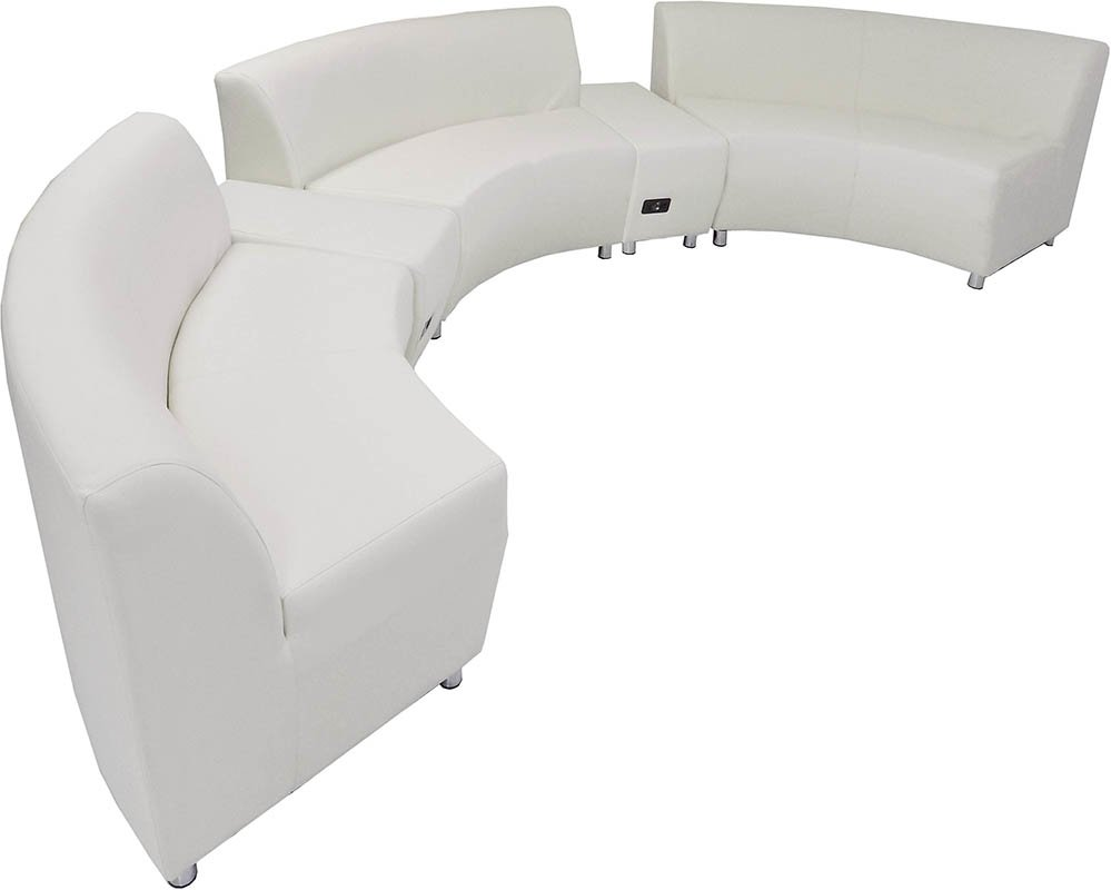 White Leather 180 Degree Curved Concave Sofa W 2 Ed Usb Benches
