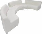 White Leather 180 Degree Curved Concave Sofa w/2 Powered USB Benchs