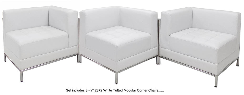 White Tufted Modular 5-Seat Zig Zag Sofa