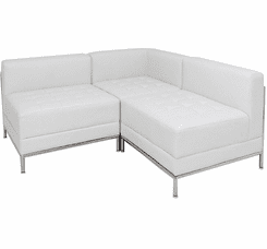 White Tufted Modular L-Shaped Sofa