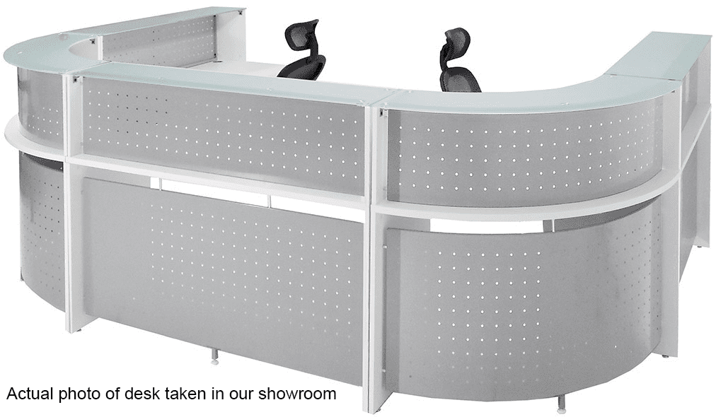 White U-Shaped 2-Person Glass Top Reception Desk