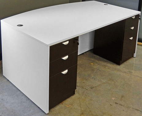 White & Woodgrain Bow Front Conference Desk w/6 Drawers