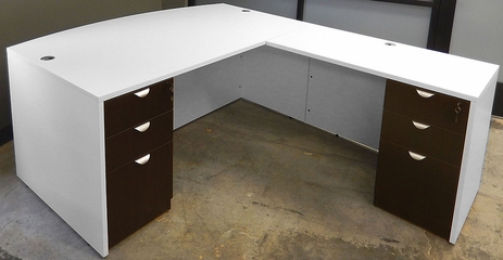 White & Woodgrain L-Shaped Bow Front Conference Desk w/6 Drawers