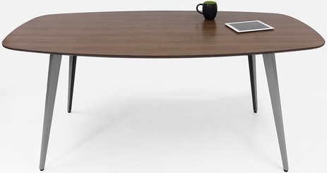 WorkTrend 6' Tapered Angled Steel Leg Boat Shaped Conference Table - 5 Colors!