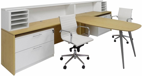 WorkTrend Tapered Angled Steel Leg 2-Person Low Rise Workstation Desk