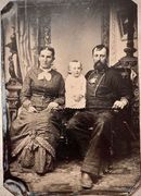 1/4 Plate of Sailor wearing a decorated shirt & his family