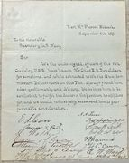 1870 testimonial signed by most 5th US Cavalry Officers at Ft. McPherson, NT