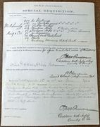 "May & June 1873 Ft. Abraham Lincoln ""Special Requisition"" document signed by Gen. W. P. Carlin"