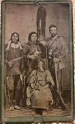 **SOLD** Armed Indians with scalp & armed buckskin wearing white man