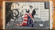 """Betsy Ross making the first United States flag"""