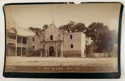 "Early Alamo cabinet card also showing ""Alamo Building"" Museum"