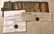 **SOLD** Identified soldiers wallet, two 1865 copper Two-Cent Pieces, regimental Sutler Script