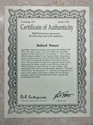 Certificate of authenticity: