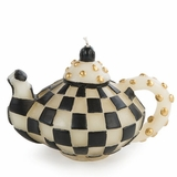 Black Check Teapot Candle