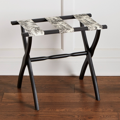 Black Toile Wooden Luggage Rack
