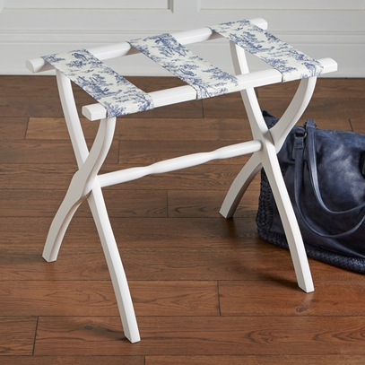 Blue Toile Wooden Luggage Rack