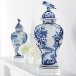 Blue & White Bird Jar with Stand