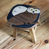 Carved Wood Owl Stool