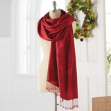 Crimson Cashmere & Silk Shawl