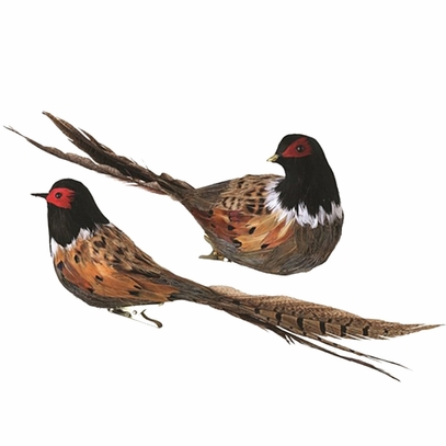 Feathered Pheasant Ornaments