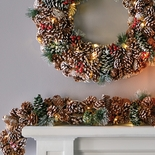 Lighted Pinecone Garland