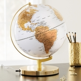 "Metallic Brass & Artic White Lighted 10"" Diameter Globe"