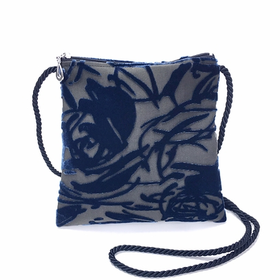 Navy Rose Velvet Bag