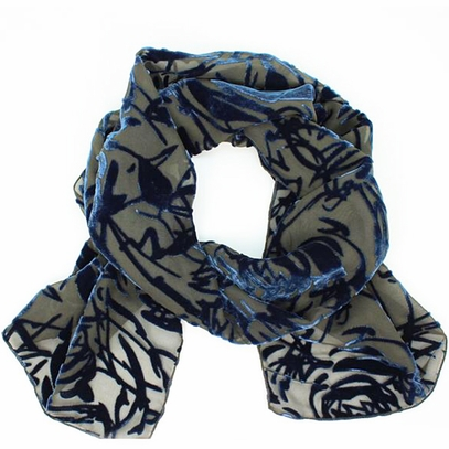 Navy Rose Velvet Scarf