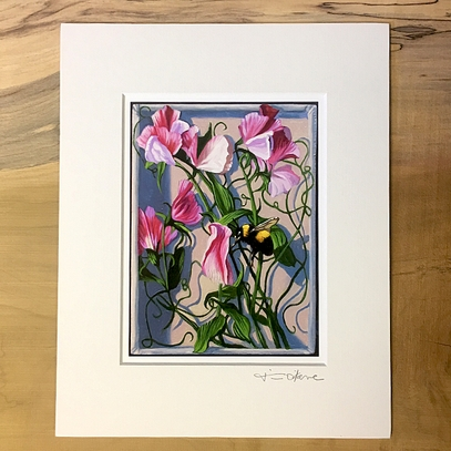 Painted Lady Sweet Pea Matted Print