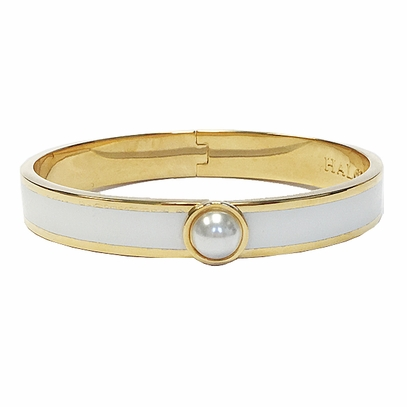 Pearl and Cream Enameled Bangle