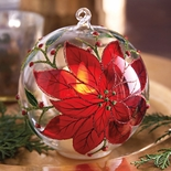 Poinsettia Flickering Candle Light Ornament