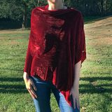 Red Velvet Asymmetrical Poncho
