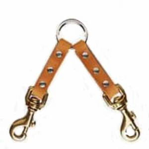 2 Dog Leather Couplet with Brass Bolt Snaps