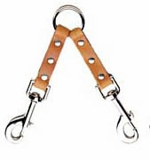 2 Dog Leather Couplet with Nickel Bolt Snaps