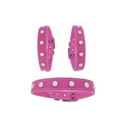 3/4 in Pink Leather Stud Collars