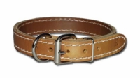 3/4 inch wide Front D Two-Ply Leather Dog Collar