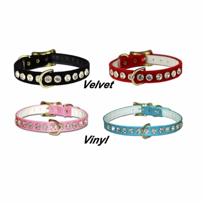 3/8 inch wide Rhinestone Dog Collars