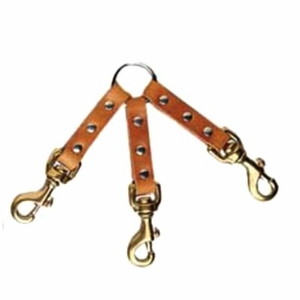 3 Dog Leather Couplet with Brass Bolt Snaps