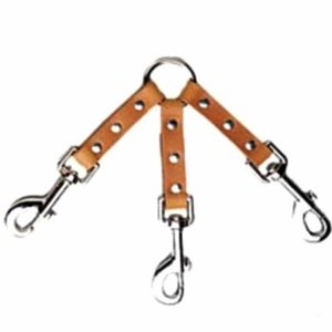 3 Dog Leather Couplet with Nickel Bolt Snaps