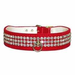 3 Row Rhinestone Velvet Dog Collar 1 in wide