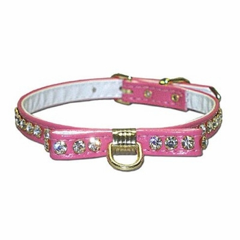 Bow Rhinestone Dog Collar 3/8 in wide