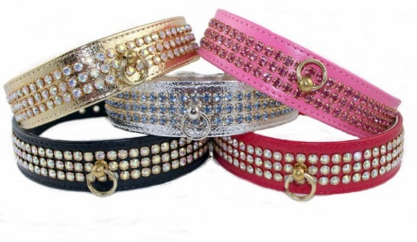 Collar with 3 Rows of Rhinestones